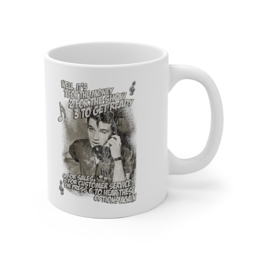Elvis Presley customer service support training mug