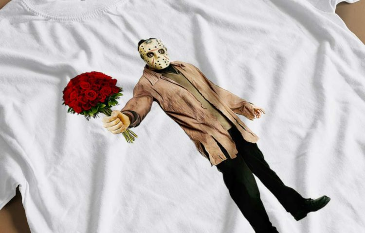 Jason Voorhees in Love T-shirt close-up