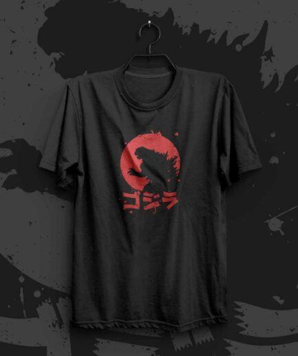 Godzilla Japanese written movie title tshirt.